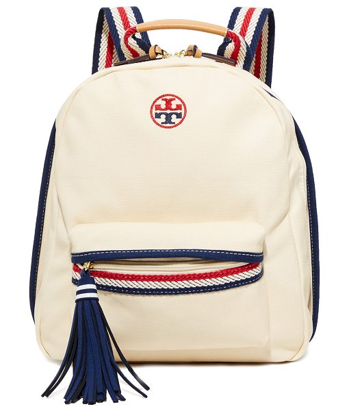 Tory Burch preppy canvas backpack in natural - A slouchy Tory Burch backpack in lightly-coated canvas,...