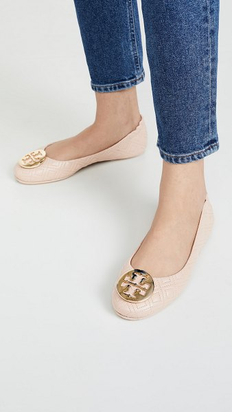 Tory Burch quilted minnie flats in goan sand/gold