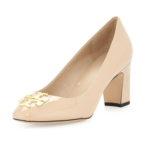 "Tory Burch Raleigh logo leather pump in nude - Tory Burch shiny leather pump. 2. 8"" covered heel...."