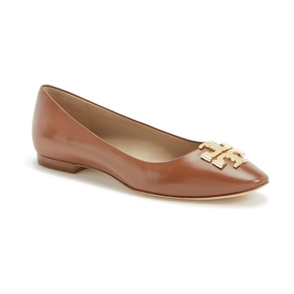 Tory Burch raleigh leather flat in nutria/ gold - Effortlessly elegant and easy to coordinate, this...