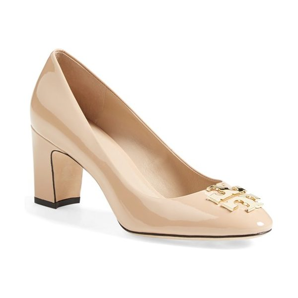 Tory Burch raleigh patent leather pump in tory beige - A inlaid, goldtone logo medallion lends signature polish...