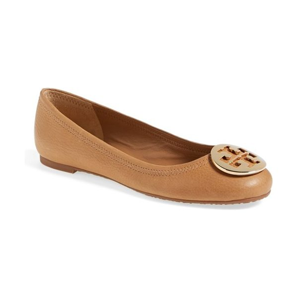 Tory Burch reva ballerina flat in royal tan/ gold metal logo - A gleaming goldtone logo medallion tops the rounded toe...