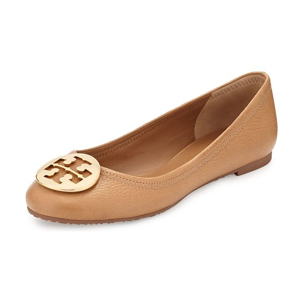 Tory Burch Reva leather ballerina flat in tan - Tory Burch tumbled leather ballerina flat. Golden...