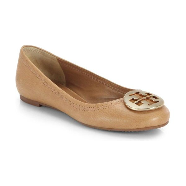 Tory Burch reva leather ballet flats in tan - A signature goldtone logo ornament adorns the vamp of...