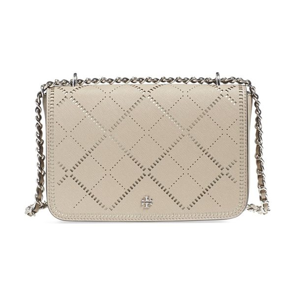 TORY BURCH Robinson in french gray/ new ivory - Crosshatched perforated leather lends an unexpectedly...