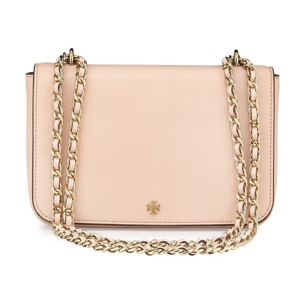 TORY BURCH Robinson Shoulder Bag in pale apricot - Tory Burch leather shoulder bag with golden hardware....