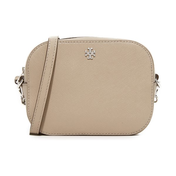 Tory Burch robinson camera bag in french gray - A petite Tory Burch cross-body bag in saffiano leather....