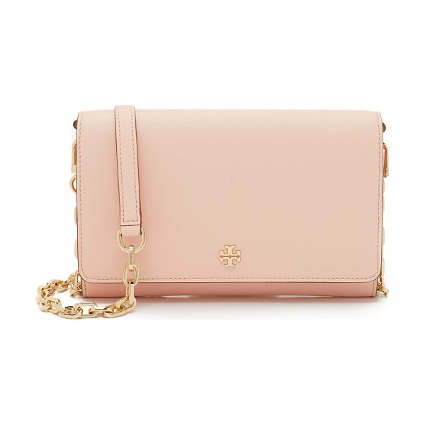 Tory Burch Robinson chain wallet in pale apricot - A large, saffiano leather Tory Burch wallet with a...