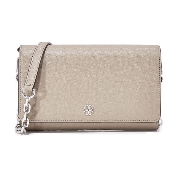 Tory Burch robinson chain wallet in french gray - A scaled-down Tory Burch cross-body bag in sophisticated...