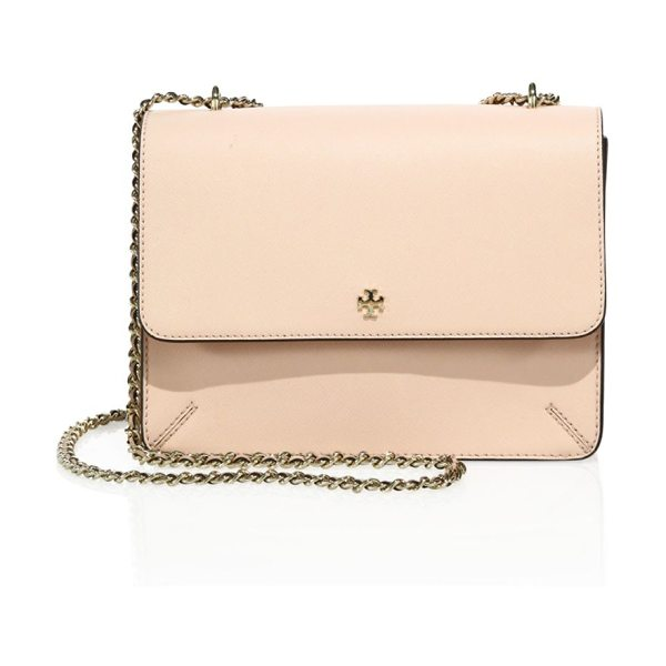 Tory Burch robinson convertible leather crossbody in pale apricot - A posh chain strap elevates this refined bag. Chain...