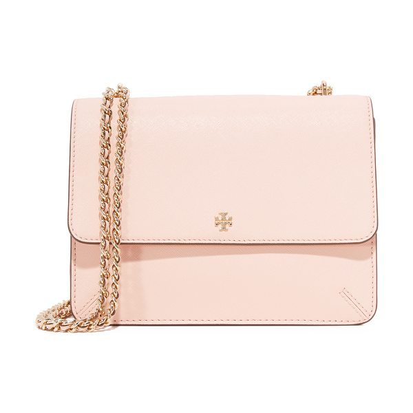 Tory Burch robinson convertible shoulder bag in pale apricot - A sophisticated Tory Burch shoulder bag crafted in...
