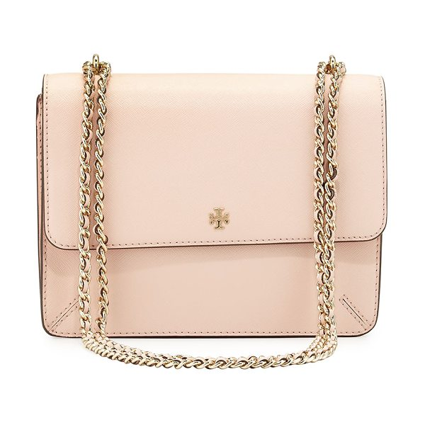 Tory Burch Robinson Convertible Shoulder Bag in pale apricot - Tory Burch saffiano leather shoulder bag. Golden...