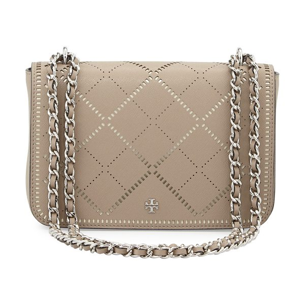 Tory Burch Robinson crosshatch saffiano leather shoulder bag in french gray/ivory - Tory Burch crosshatch saffiano leather shoulder bag....
