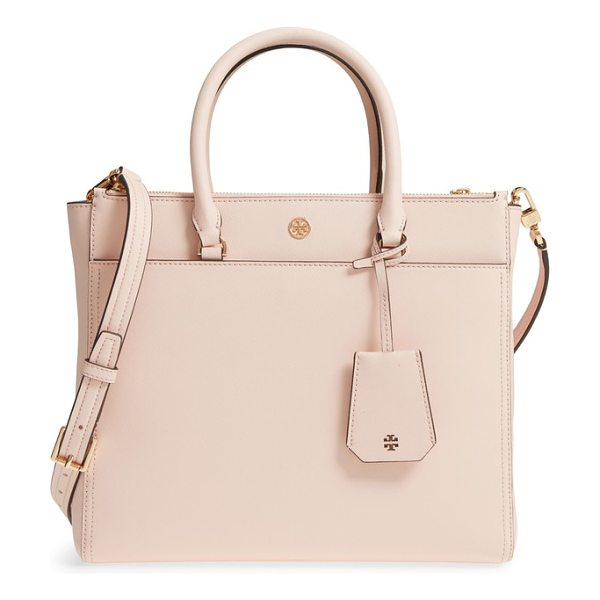 Tory Burch robinson double-zip leather tote in pale apricot / royal navy - Made in a stable, structured silhouette from...