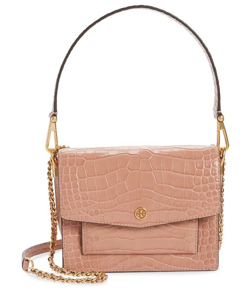 Tory Burch robinson embossed double strap leather flap bag in pink