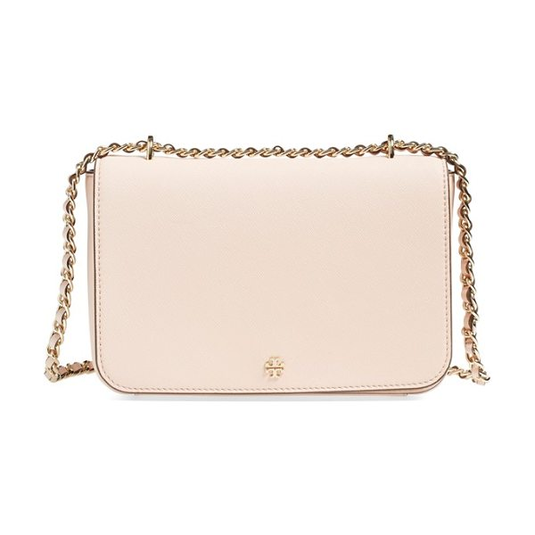 Tory Burch Robinson leather convertible shoulder bag in pale apricot - Crosshatched scratch-resistant leather and golden logo...