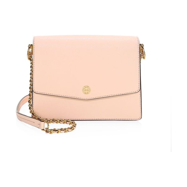 Tory Burch robinson leather shoulder bag in pale apricot - Enduring, ladylike shoulder bag with a polished look...