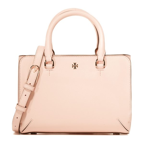 Tory Burch Tory Burch Robinson Micro Zip Tote in pale apricot - A scaled down Tory Burch tote with magnetic pockets in...