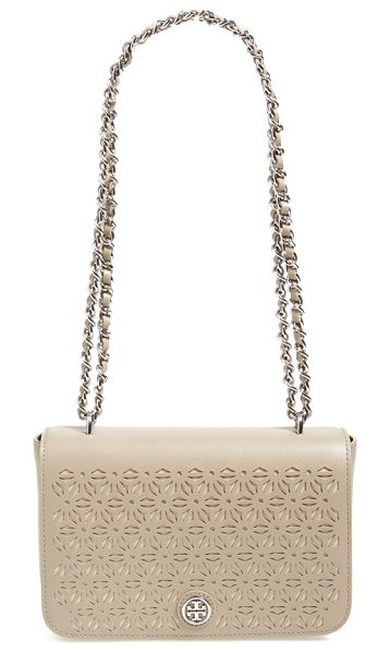TORY BURCH Robinson perforated leather shoulder bag in french gray - Perforated leather looks so fresh on this pristine...