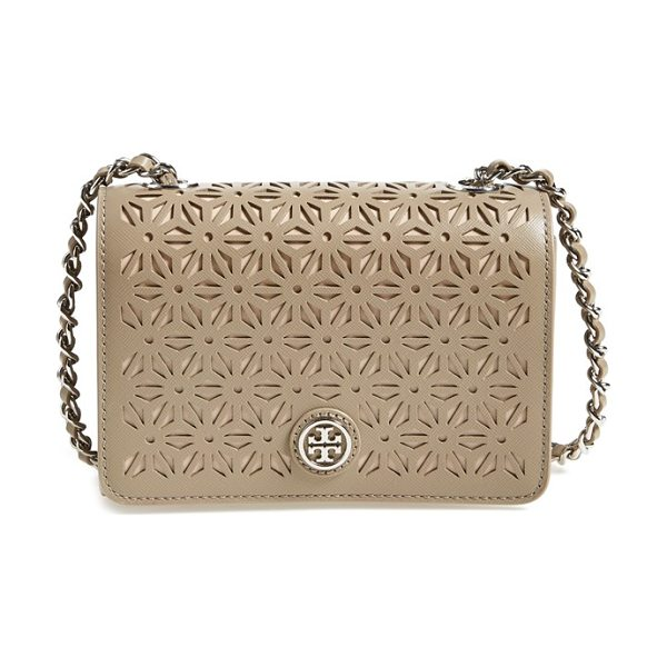 Tory Burch Robinson perforated leather shoulder bag in french gray - Perforated Saffiano leather adds a pristine geometric...