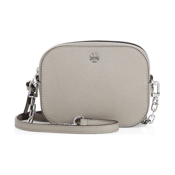 TORY BURCH robinson round saffiano leather crossbody bag in french gray - Rounded compact leather crossbody with saffiano finish....