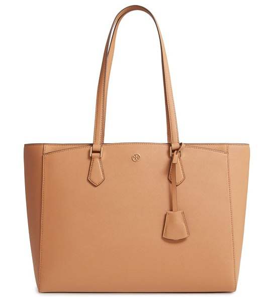 Tory Burch robinson saffiano leather tote in brown