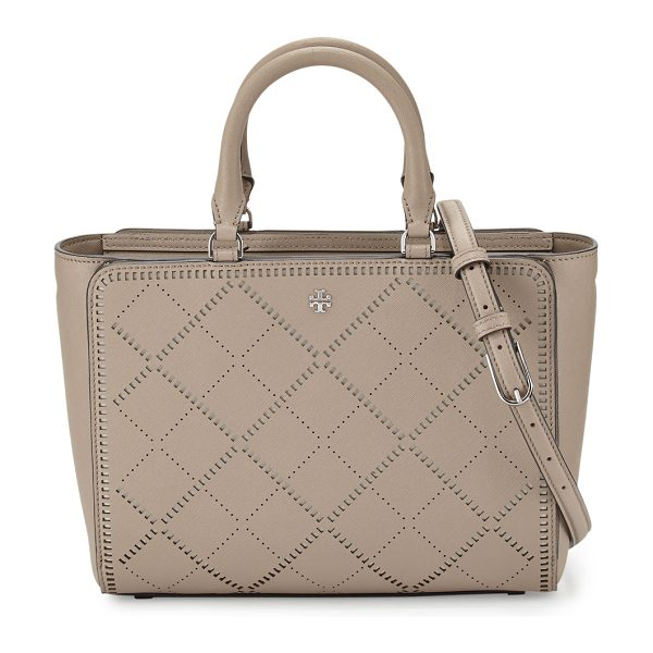 Tory Burch Robinson small crosshatch tote bag in french gray/ivory - Tory Burch crosshatch saffiano leather tote bag....