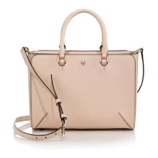 Tory Burch Robinson small zip tote in paleapricot - Structured mini tote epitomizes timeless styleDual top...