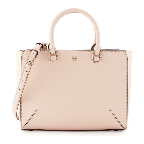 TORY BURCH Robinson small zip tote bag in pale apricot - Tory Burch saffiano leather tote bag. Rolled top...