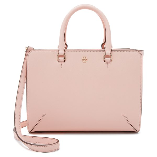 Tory Burch Robinson small zip tote in pale apricot - A boxy Tory Burch tote with magnetic pockets in front...
