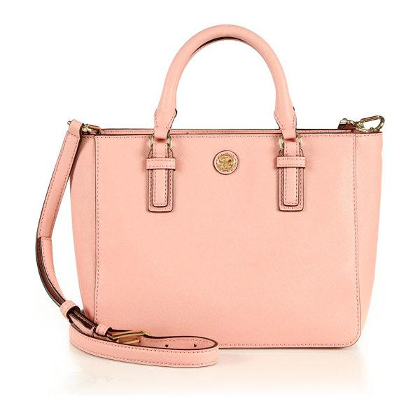Tory Burch Robinson tiny saffiano leather tote in rose - Petite Saffiano leather design with signature logo...