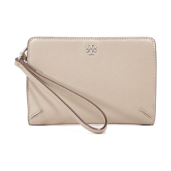 Tory Burch Robinson wristlet in french gray - A versatile Tory Burch wallet in saffiano leather....