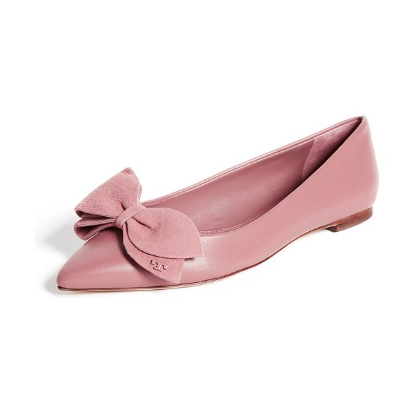 Tory Burch rosalind ballet flats in pink magnolia - Leather: Sheepskin Ballet flats Flat profile Pointed toe...
