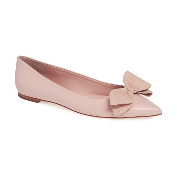 Tory Burch rosalind bow pointy toe flat in sea shell pink - A velvet bow at the vamp enhances the classically...