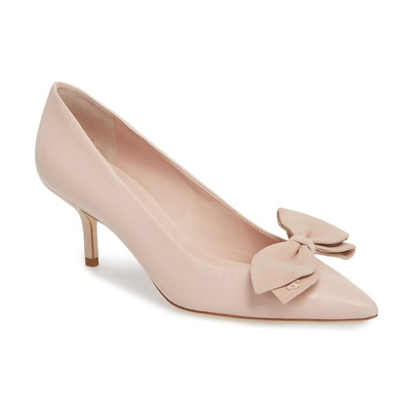 Tory Burch rosalind pump in sea shell pink - A suede bow discreetly detailed with logo hardware...