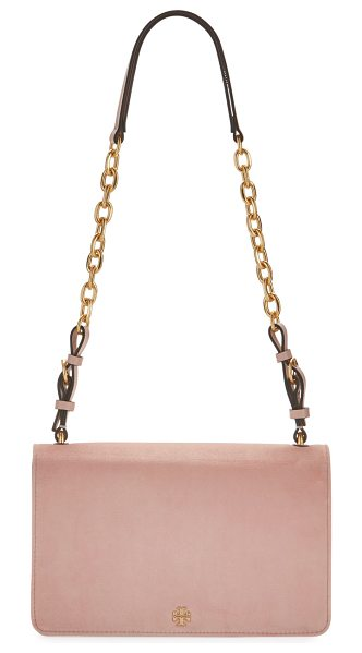 TORY BURCH Sadie Velvet Chain Shoulder Bag - Tory Burch velvet shoulder bag with golden hardware....