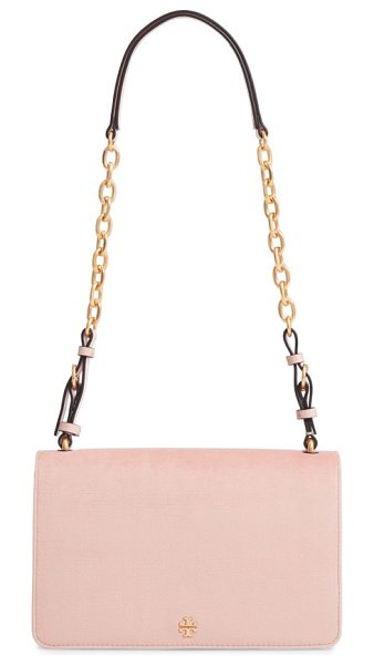 TORY BURCH sadie velvet shoulder bag in ballet pink - A clean-lined shoulder bag gets a boost of vintage style...