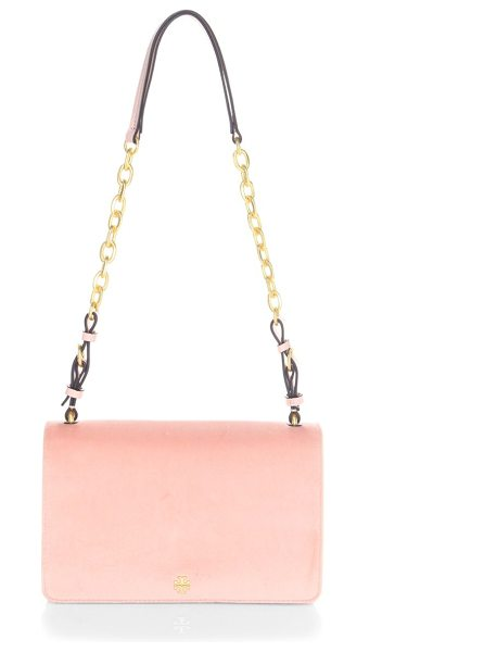 Tory Burch sadie velvet shoulder bag in ballet pink - Shoulder bag with chain detailing. Adjustable shoulder...