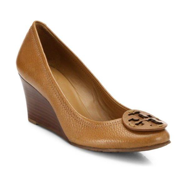 TORY BURCH Sally leather wedge pumps - A signature medallion rests atop this pebbled-grain...