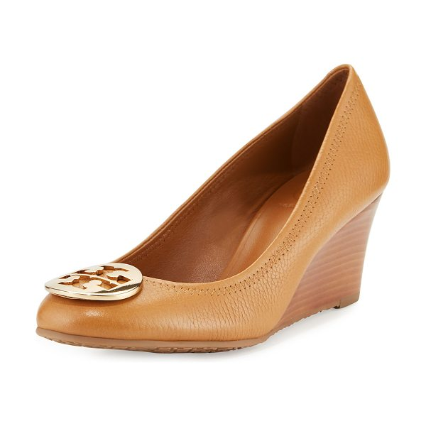 "TORY BURCH Sally logo wedge pump - Tory Burch tumbled leather pump. 2. 5"" stacked wedge..."