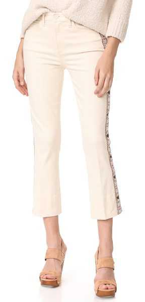 Tory Burch sandy embroidered crop jeans in natural - These slim Tory Burch cropped jeans are trimmed with...