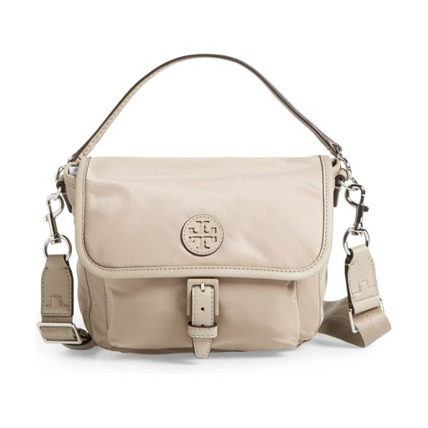 Tory Burch scout nylon crossbody bag in french gray - A sporty crossbody bag styled in a scaled-down messenger...