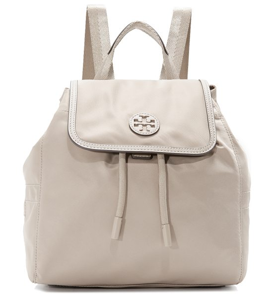 Tory Burch scout nylon small backpack in french gray - A petite Tory Burch backpack in smooth nylon. Saffiano...