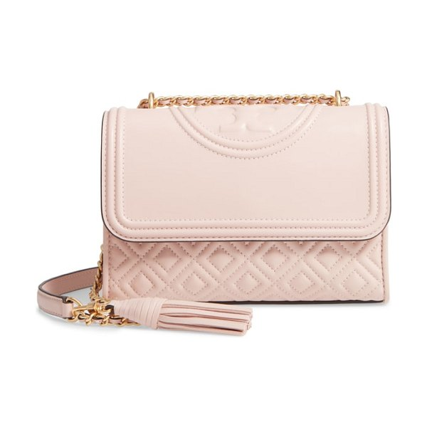 Tory Burch small fleming leather convertible shoulder bag in pink