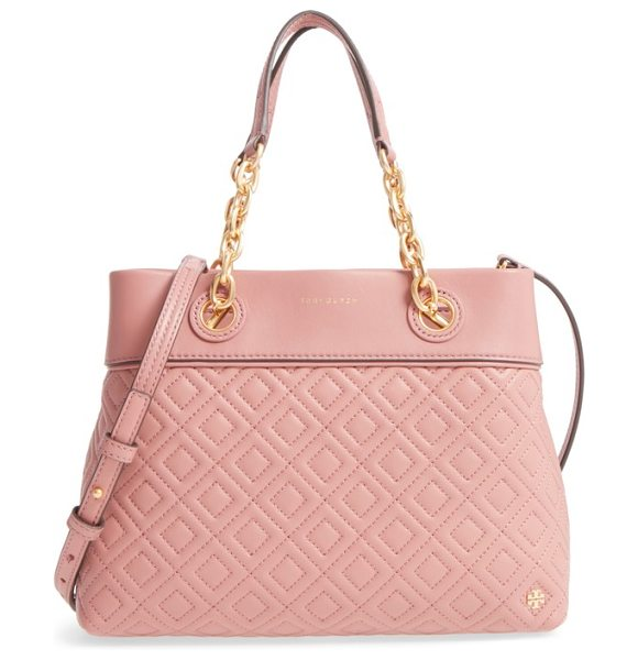 TORY BURCH small fleming leather tote - Impeccable diamond quilting adds striking texture to a...