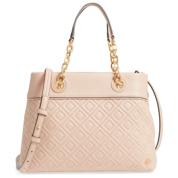 Tory Burch small fleming leather tote in new mink - Impeccable diamond quilting adds striking texture to a...