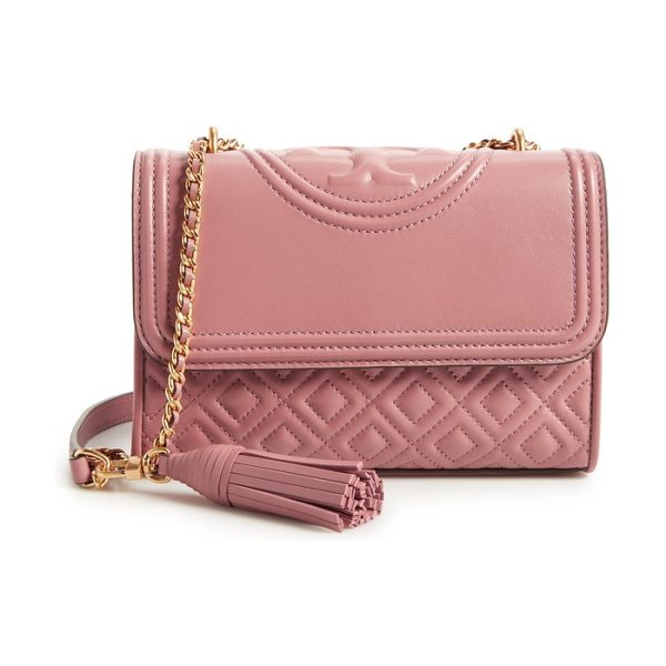TORY BURCH small fleming quilted lambskin leather convertible shoulder bag in pink magnolia - Diamond-quilted lambskin leather and a topstitched...