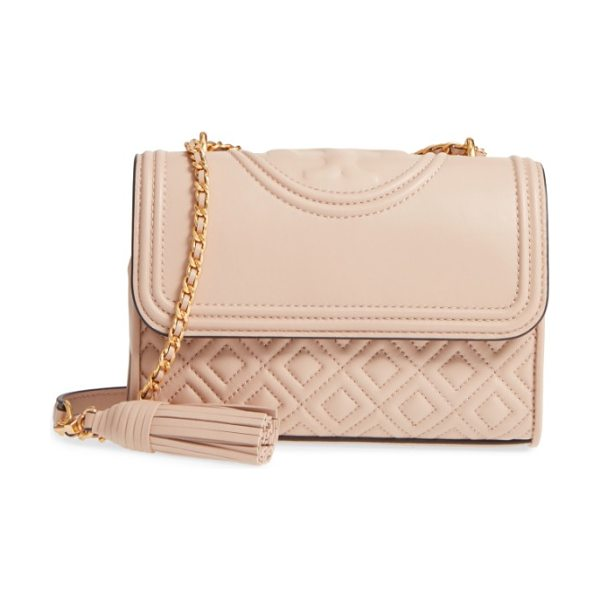 Tory Burch small fleming leather convertible shoulder bag in new mink - Diamond-quilted lambskin leather and a topstitched...