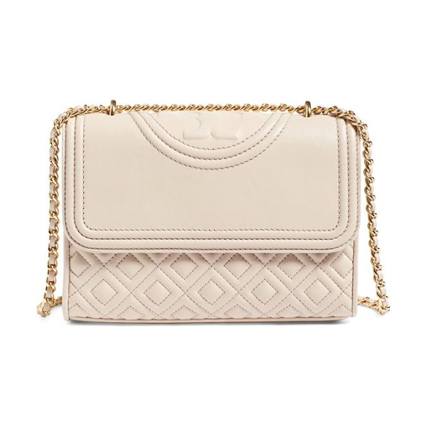 Tory Burch 'small fleming' quilted leather shoulder bag in bedrock - Diamond-quilted lambskin leather, a topstitched double-T...