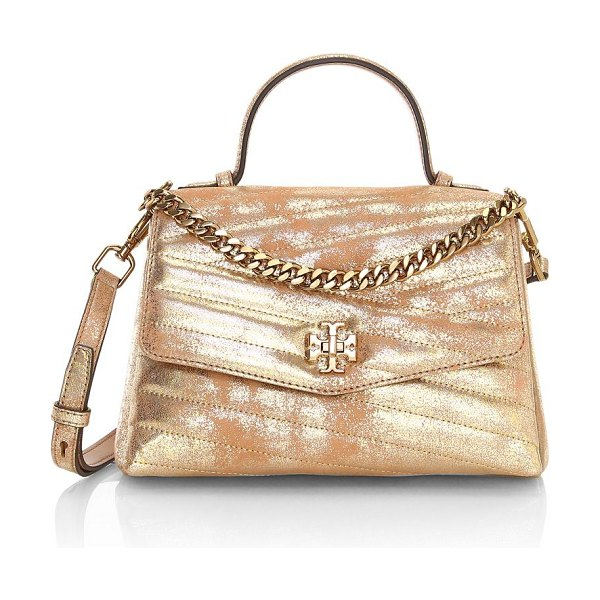 Tory Burch small kira chevron metallic leather top handle bag in white gold